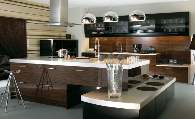 italian kitchen high gloss lacquer in graphite black and gold kitchen